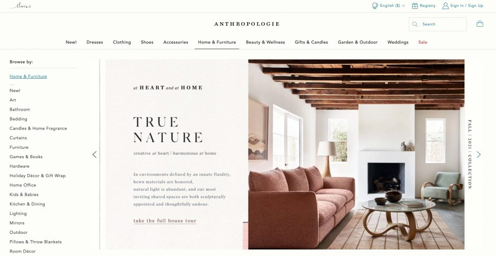 In addition to selling clothing, Anthropologie also carries furniture and home goods that have the same boho chic vibe as their fashion pieces.