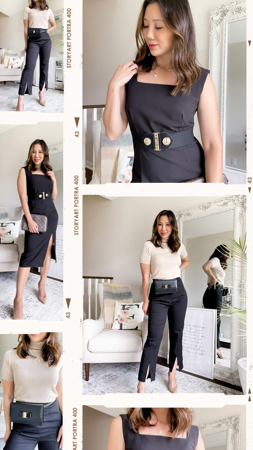 Workwear outfit ideas - new SHEIN premium MOTF review. Little black dress, knit top and black pants. Styled by Eileen Lazazzera of yesmissy.com