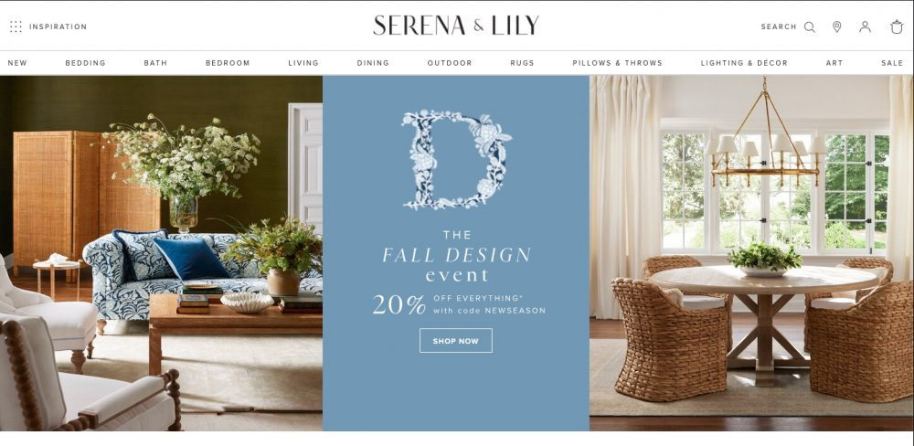 Serena and Lily is a furniture and home goods store like Pottery Barn with that airy west coast vibe.