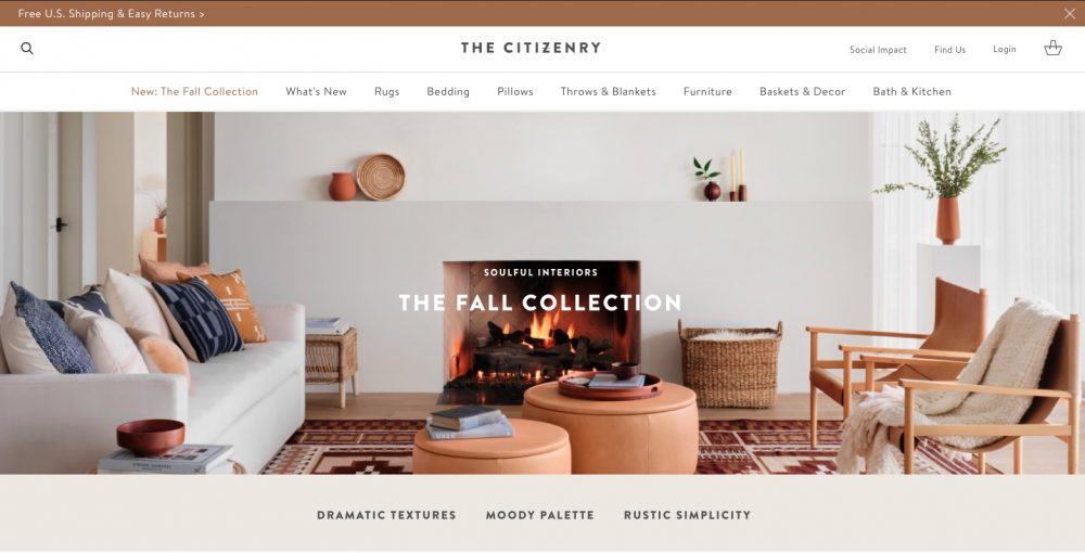 You can find unique home goods at The Citizenry. They both furniture and home goods such as rugs, pillows, bedding and other home and decor items.