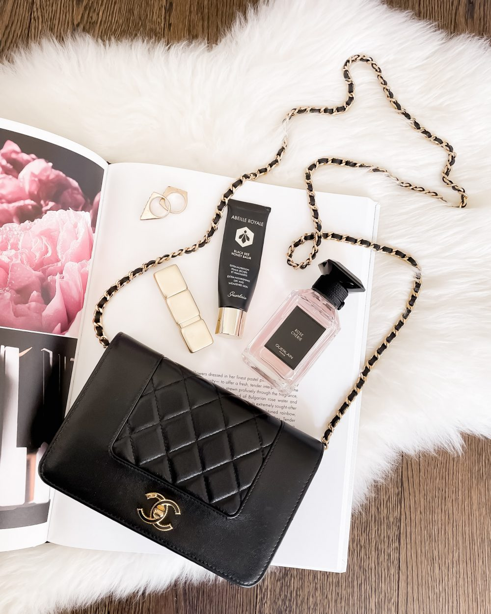 My first Chanel bag! This is a vintage Mademoiselle wallet on chain along with some of my favourite Guerlain beauty products. For tips on buying vintage Chanel bags visit my fashion and lifestyle blog yesmissy.com