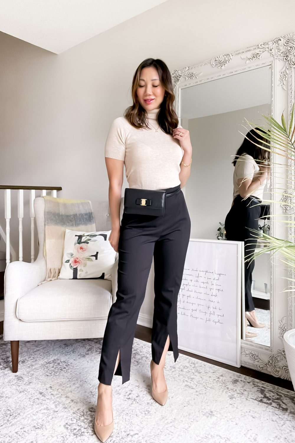 SHEIN MOTF review - workwear look for fall with knit turtleneck made from eco friendly materials and black pants with slit.